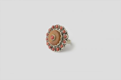 Amber & Coral Silver Ring
