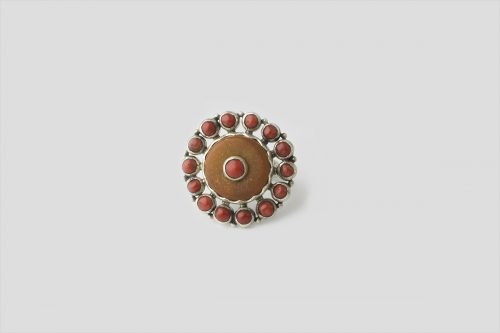 Amber & Coral Silver Ring(2)