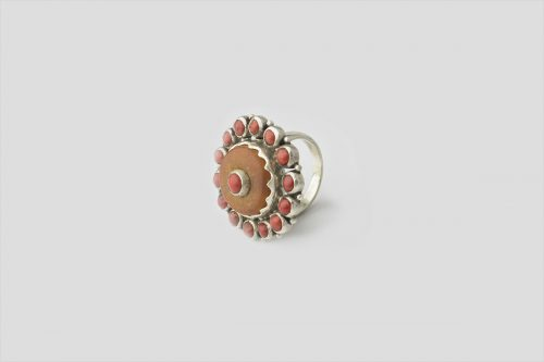 Amber & Coral Silver Ring(3)
