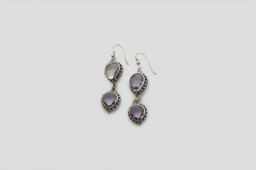 Amethyst silver earring (Wire Design)