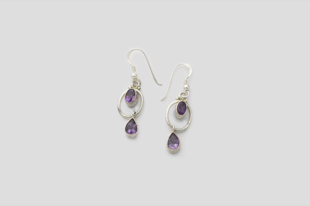Amethyst silver earring (Jali Design)