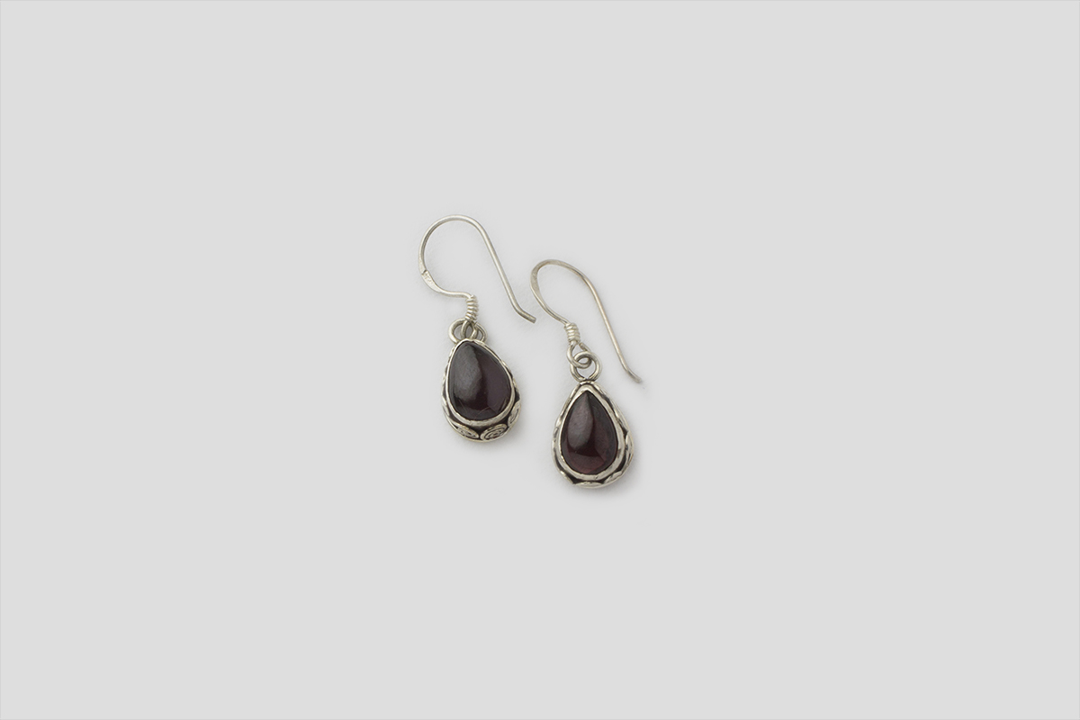 Garnet Silver Earring (Wire Design)
