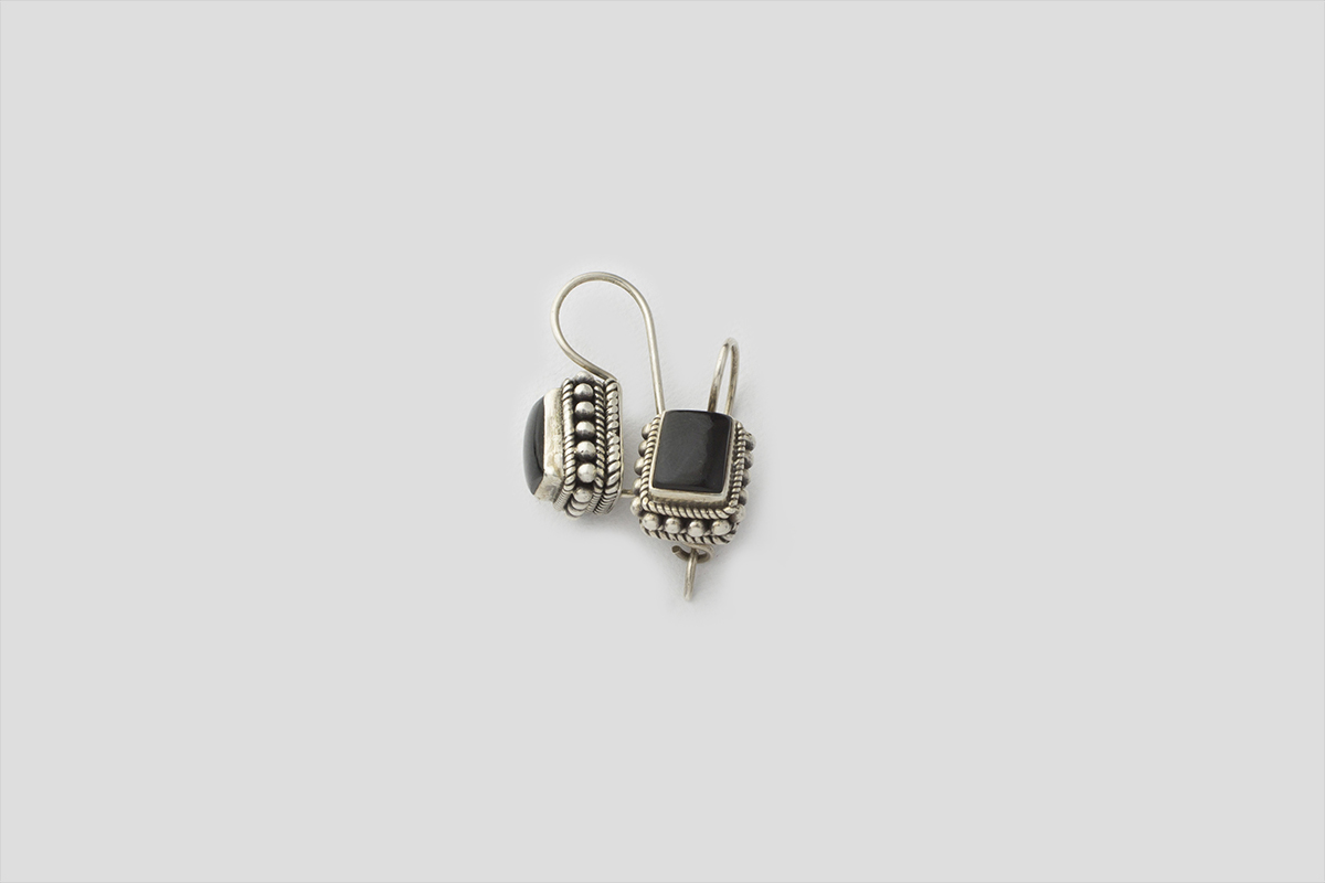 Black Onyx Silver Earring