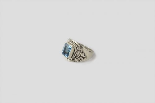 Blue Topaz Silver Ring (Wire Design)