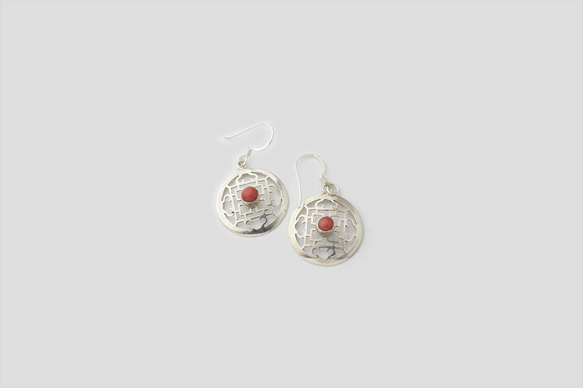 Coral Silver earring