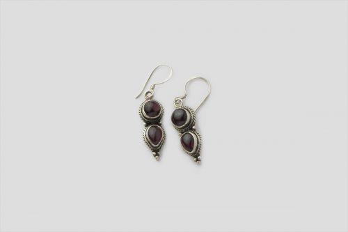 Garnet Silver Earring (Wire Design)