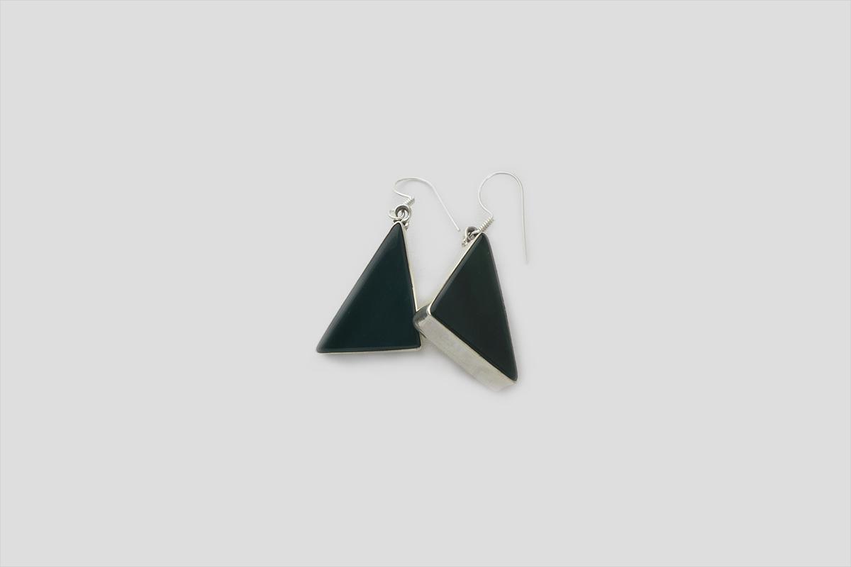 Green onyx Silver Earring