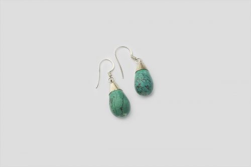 Oval Turquoise Silver Earring