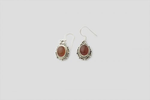 Red onyx silver Earring (Wire Design)