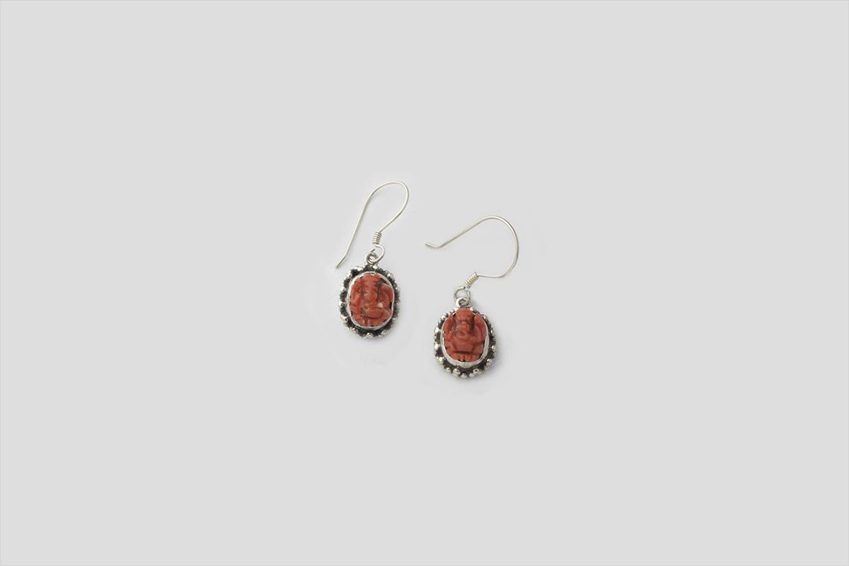 Red onyx silver Earring