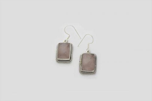 Rose Quartz silver earring