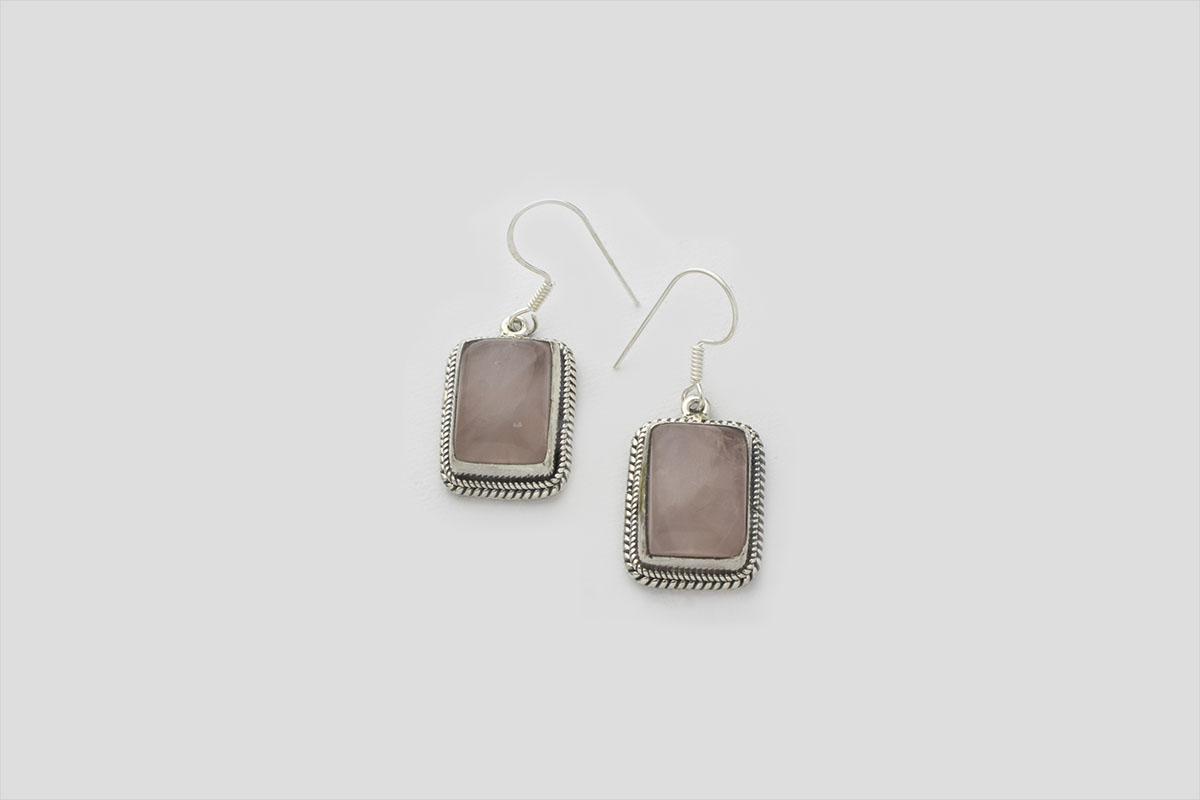 Rose Quartz silver earring