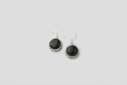 Round Black Onyx Silver earring