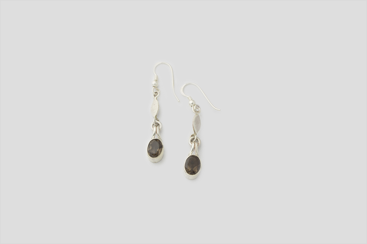 Smokey Quartz silver Earring