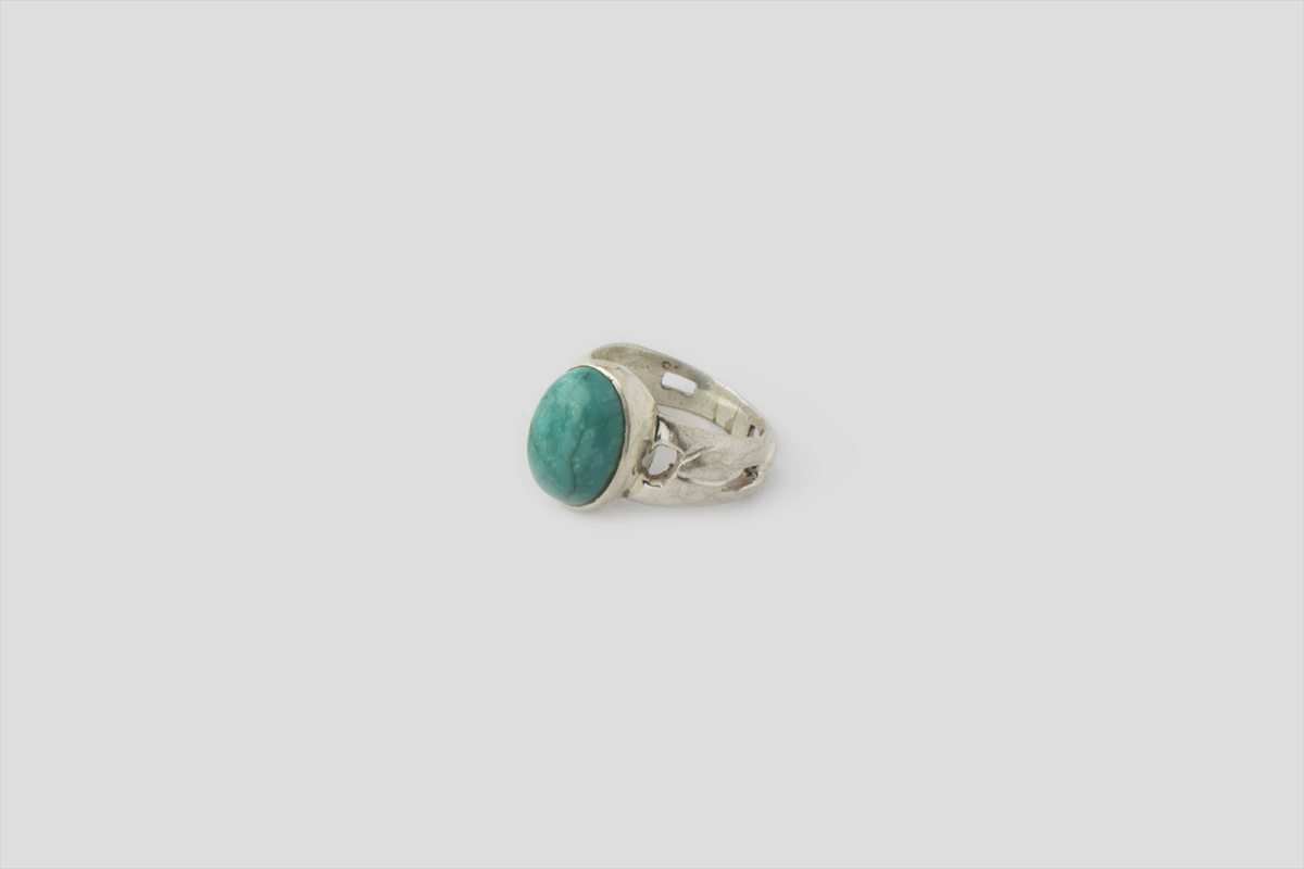 Turquoise Silver Ring (Chain Design)