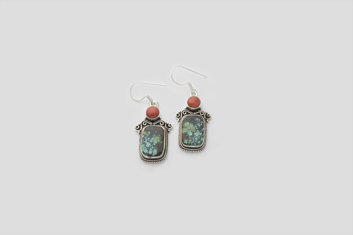 Turquoise Coral silver earring (Wire Design)