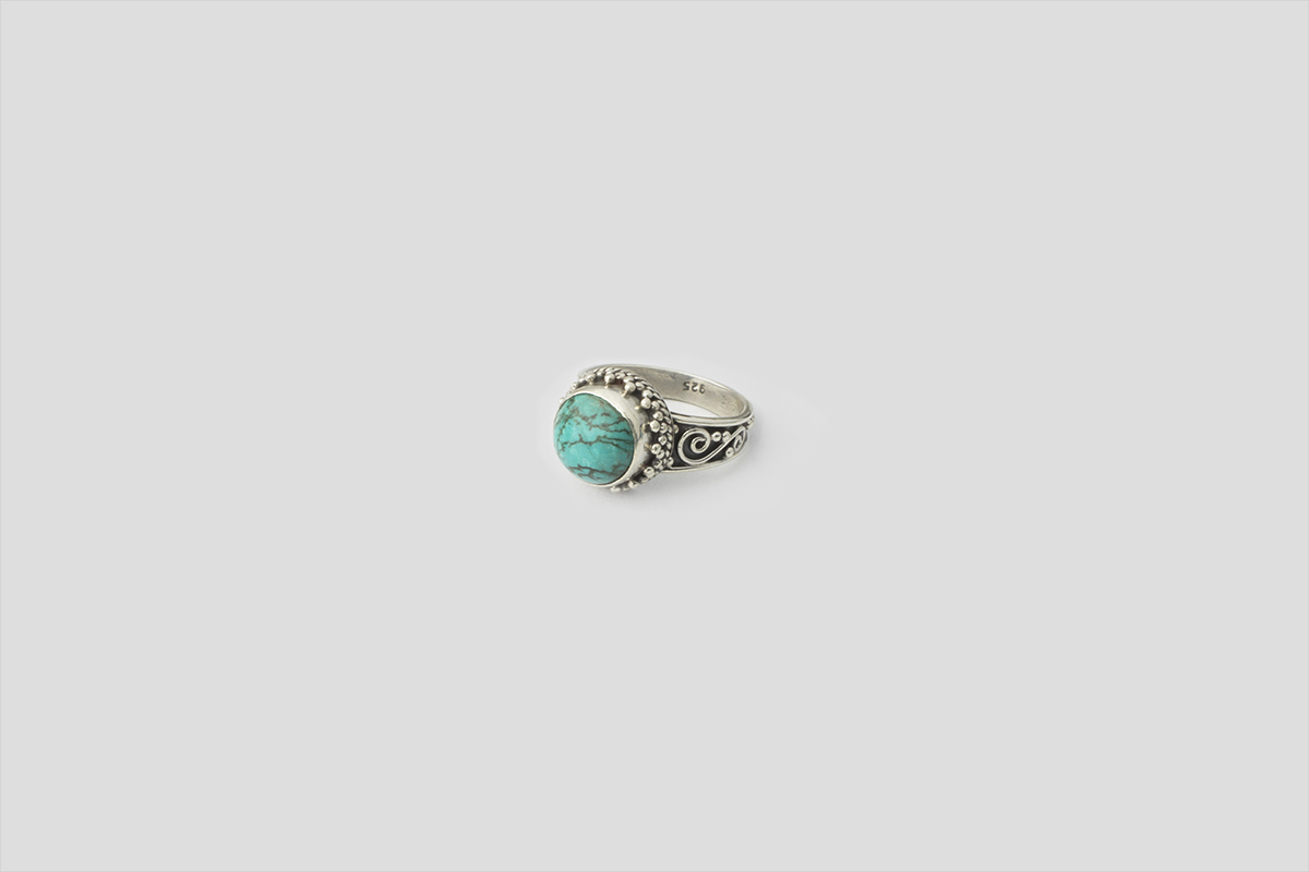 Turquoise Silver Ring (Wire Design)(2)