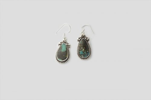 Tibetan Style Simple Turquoise Silver Earring