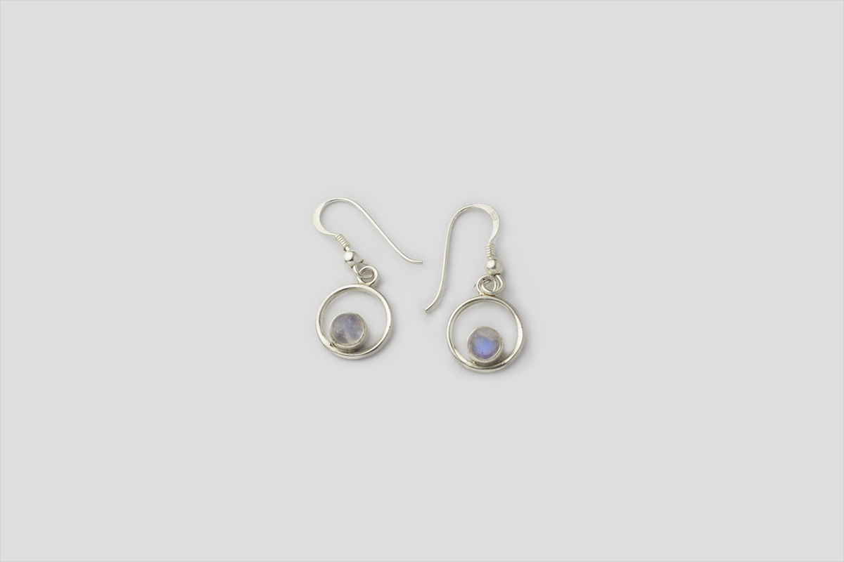 rainbow Moonstone silver earring