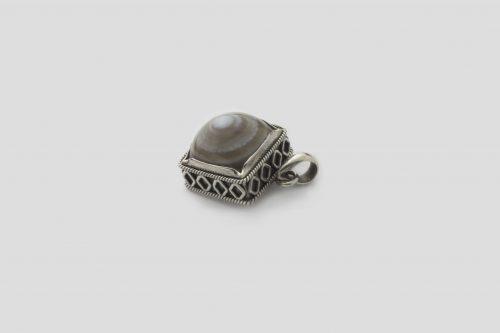 Agate Square shaped Silver Pendent (Wire Design) (1)
