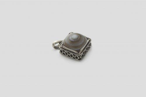 Agate Square shaped Silver Pendent (Wire Design) (3)