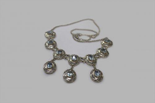 Blue topaz silver necklace