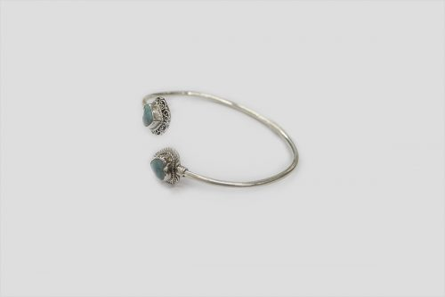 Turquoise Silver Bracelet (Wire Design) 2
