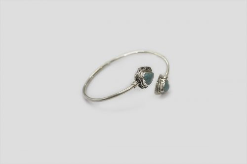Turquoise Silver Bracelet (Wire Design) 3
